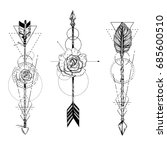 tribal arrow set in ethnical... | Shutterstock .eps vector #685600510