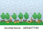 harvesting and realization... | Shutterstock . vector #685607740