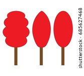 tree red sign set. plane icons... | Shutterstock .eps vector #685627468