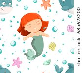 seamless pattern with cute... | Shutterstock .eps vector #685628200