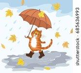 cute hand drawing cartoon cat ... | Shutterstock .eps vector #685636993