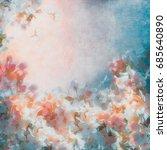 apple tree blooming vintage... | Shutterstock . vector #685640890