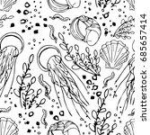 jellyfish illustration on white ... | Shutterstock . vector #685657414