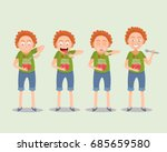little boy with a spoon eating... | Shutterstock .eps vector #685659580