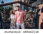 stylish man and happy woman... | Shutterstock . vector #685662118