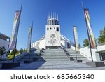 Facade of the modernist Liverpool Metropolitan Cathedral of Christ the King