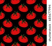 tomato seamless doodle pattern | Shutterstock .eps vector #685677994