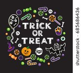 calligraphy lettering trick or... | Shutterstock .eps vector #685686436