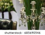 white chrystal chandelier close ... | Shutterstock . vector #685690546