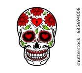 day of the dead skull. skull... | Shutterstock .eps vector #685694008