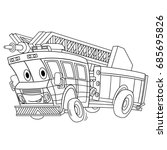 Coloring Page Of Cartoon Fire...