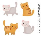vector set of cute cats on... | Shutterstock .eps vector #685700140