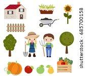 farmer girl and boy on white...   Shutterstock .eps vector #685700158