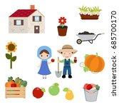 farmer girl and boy on white...   Shutterstock .eps vector #685700170