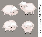 vector set of cute sheep. sheep ... | Shutterstock .eps vector #685702450