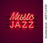 neon music jazz signboard on... | Shutterstock .eps vector #685711450