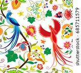 folk pattern birds  flowers ...   Shutterstock .eps vector #685711579
