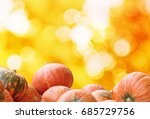 pumpkins on autumn  bokeh... | Shutterstock . vector #685729756