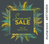 square vector frame with fern... | Shutterstock .eps vector #685730404