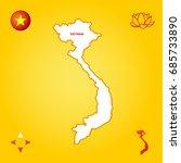 simple outline map of vietnam   Shutterstock .eps vector #685733890