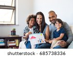 proud parents showing family... | Shutterstock . vector #685738336