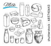 dairy products  collection. cow ...   Shutterstock . vector #685740643