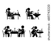 eating and drinking pictogram.... | Shutterstock . vector #685743220