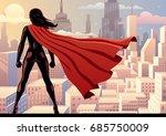 super heroine watching over... | Shutterstock .eps vector #685750009