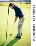 a golf player aiming for the...   Shutterstock . vector #685755988