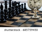 white and black pieces on chess ... | Shutterstock . vector #685759450