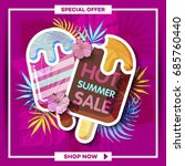 summer sale background with... | Shutterstock .eps vector #685760440