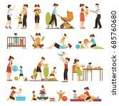 babysitter flat set of... | Shutterstock .eps vector #685760680