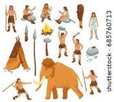 primitive people flat cartoon... | Shutterstock .eps vector #685760713