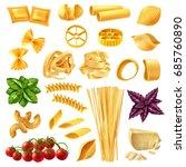 realistic set of pasta... | Shutterstock .eps vector #685760890