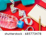 lay flat   dumbbell  measuring... | Shutterstock . vector #685773478
