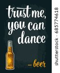 Bottle Beer. Vintage Vector...