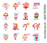 Stock vector funny people expressing various emotions with speech bubbles cartoon set isolated on white 685784983