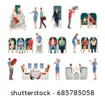 people in airplane set... | Shutterstock .eps vector #685785058