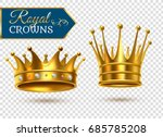 royal gold crowns 2 shining ... | Shutterstock .eps vector #685785208