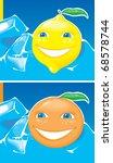 lemon and orange in blue ice.... | Shutterstock . vector #68578744