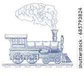 vintage steam locomotive vector ... | Shutterstock .eps vector #685793824