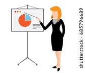 flat businesswoman presentation ... | Shutterstock .eps vector #685796689