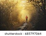 trail runner run in winter... | Shutterstock . vector #685797064