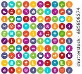 100 garden stuff icons set in... | Shutterstock .eps vector #685808374