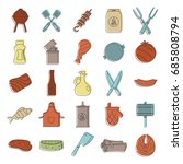 barbeque doodle icons set. bbq... | Shutterstock .eps vector #685808794