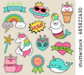 set of fashion patches  fun... | Shutterstock .eps vector #685822630
