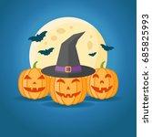 illustration of pumpkins  witch ...   Shutterstock . vector #685825993