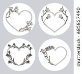 set of heart shaped frames with ... | Shutterstock .eps vector #685827490