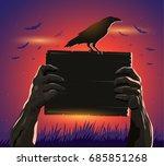 haloween zombie hands holding a ... | Shutterstock .eps vector #685851268