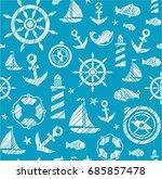 nautical background  seamless ... | Shutterstock .eps vector #685857478